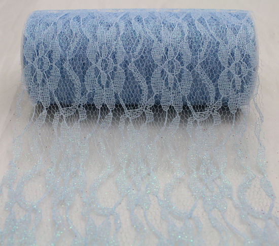 "6"" Light Blue Sparkle Lace - 10 Yard Ribbon"